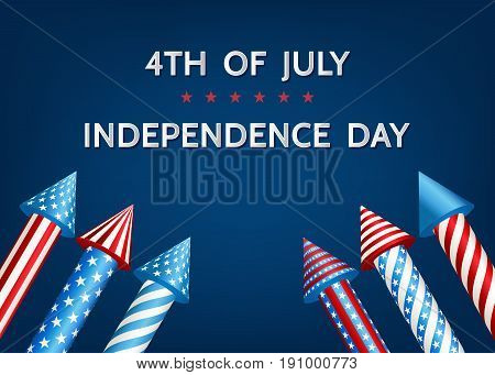 Usa   Independence  Day Background  With  Firework  Rockets.