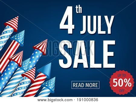 4Th Of  July  Sale Banner  With  Firework  Rockets.