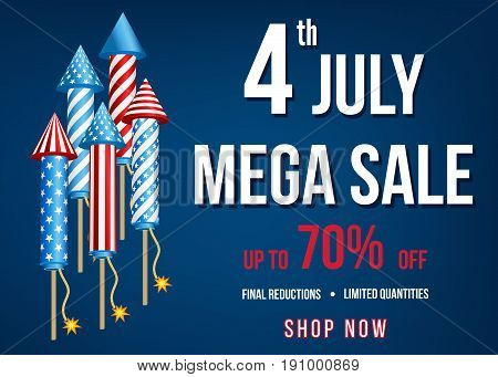 Independence  Day Of  The Usa   Mega  Sale Banner.