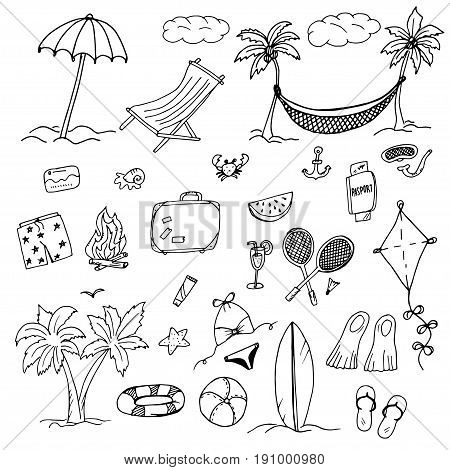 Drawings elements of relaxation and beach, a swimsuit and shorts, the beach, palm trees and a hammock, a chair and an umbrella, badminton ball, flippers and flip-flops