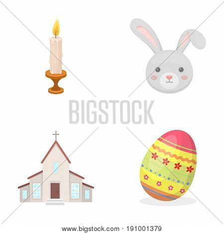 Church, candle, easter bunny and painted egg.Easter set collection icons in cartoon style vector symbol stock illustration .