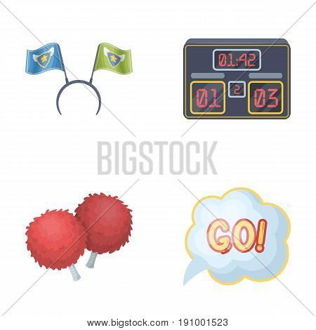 Hoop with flags and other attributes of the fans.Fans set collection icons in cartoon style vector symbol stock illustration .