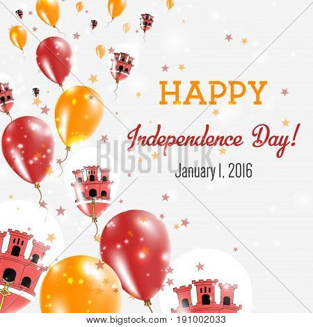 Gibraltar Independence Day Greeting Card. Flying Balloons In Gibraltar National Colors. Happy Indepe