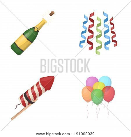 Champagne, fireworks and other accessories at the party.Party and partits set collection icons in cartoon style vector symbol stock illustration .