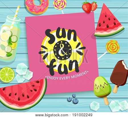 Summer card on blue wooden background with lemon, watermelon, detox, ice, donut, ice cream, lime and candy. Vector Illustration.