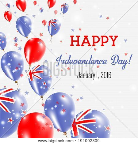 New Zealand Independence Day Greeting Card. Flying Balloons In New Zealand National Colors. Happy In