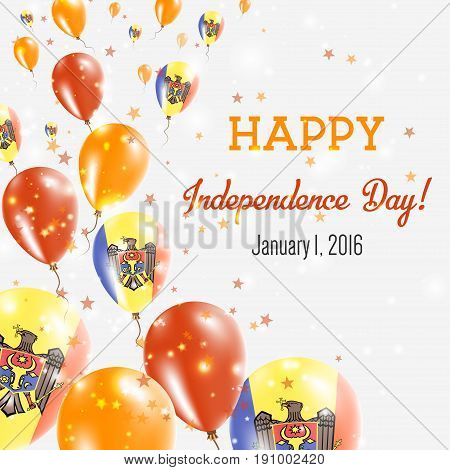 Moldova, Republic Of Independence Day Greeting Card. Flying Balloons In Moldova, Republic Of Nationa