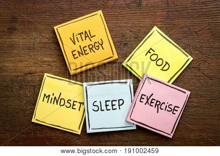vital energy concept - food, exercise, mindset and sleep handwritten on colorful sticky notes against rustic wood