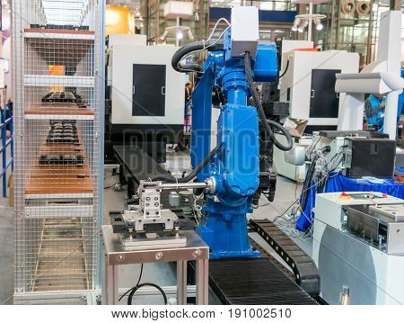 artificial intelligence robotic arm machine at industrial manufacture factory