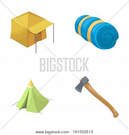 Tent with awning, ax and other accessories.Tent set collection icons in cartoon style vector symbol stock illustration .