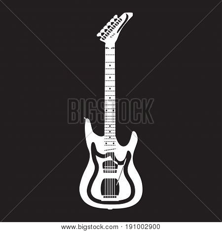 Vector illustration of white solo guitar isolated on black background. Electric guitar template, flat style design.