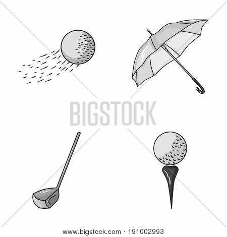 A flying ball, a yellow umbrella, a golf club, a ball on a stand. Golf Club set collection icons in monochrome style vector symbol stock illustration web.