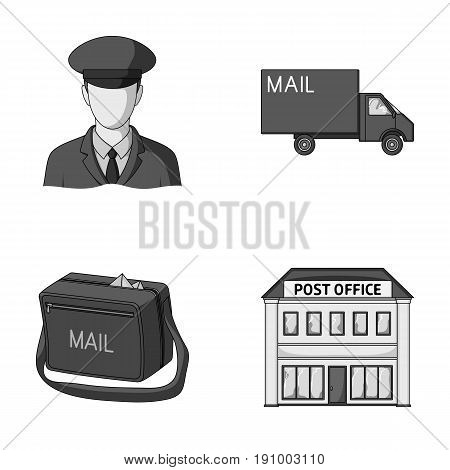 The postman in uniform, mail machine, bag for correspondence, postal office.Mail and postman set collection icons in monochrome style vector symbol stock illustration .