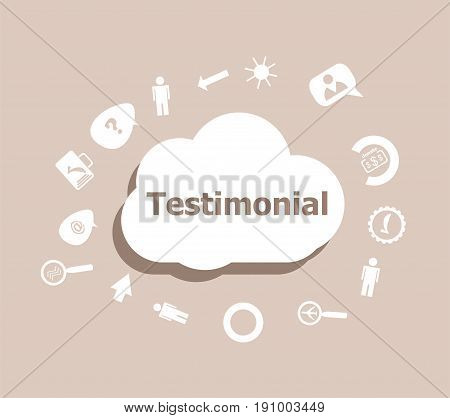 Text Testimonial. Business Concept . Icons Set For Cloud Computing For Web And App