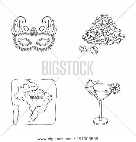 Brazil, country, mask, carnival . Brazil country set collection icons in outline style vector symbol stock illustration .
