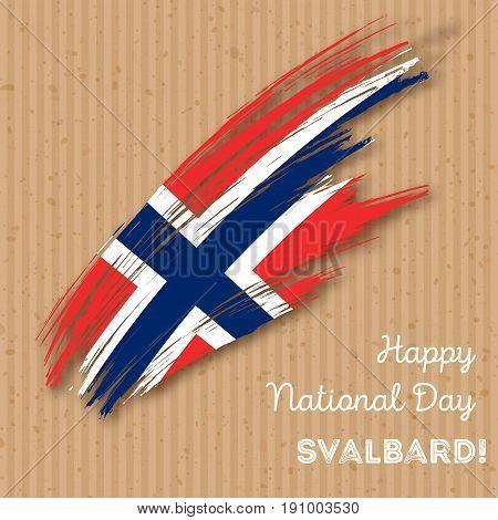 Svalbard Independence Day Patriotic Design. Expressive Brush Stroke In National Flag Colors On Kraft