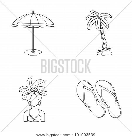 Brazil, country, umbrella, beach . Brazil country set collection icons in outline style vector symbol stock illustration .