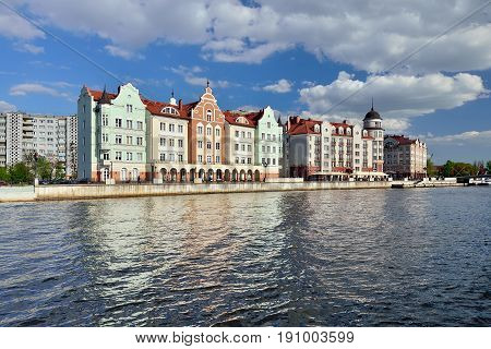 KALININGRAD RUSSIA - MAY 13 2017: Fishing Village on a summer evening. Tourist attraction favorite place of rest of the townspeople and visitors of the city