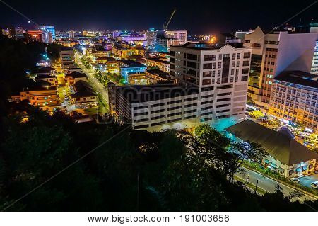 Kota Kinabalu, Sabah-May 29,2017:Kota Kinabalu city night view on 29th May 2017 in Kota Kinabalu, Sabah, Malaysia. Kota Kinabalu City is hub for islands,resorts,award winning sunsets & Mount Kinabalu