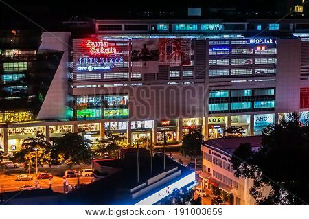 Kota Kinabalu,Sabah-May 29,2017:Night view of Suria Sabah shopping mall in Kota Kinabalu,Sabah, Malaysia.The mall facing the South China Sea with a scenic view of the Tunku Abdul Rahman National Park