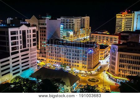 Kota Kinabalu,Sabah-May 29,2017:Kota Kinabalu city night view on 29th May 2017 in Kota Kinabalu,Sabah,Malaysia.Kota Kinabalu City is hub for islands,resorts,award winning sunsets & Mount Kinabalu