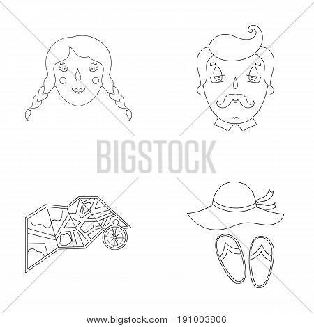 Travel, vacation, camping, map .Family holiday set collection icons in outline style vector symbol stock illustration .