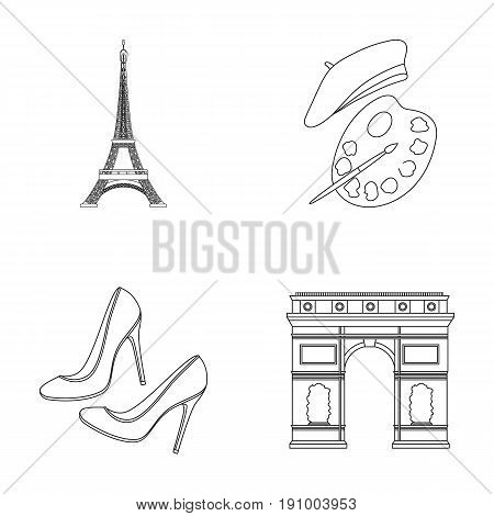 Eiffel tower, brush, hat .France country set collection icons in outline style vector symbol stock illustration .