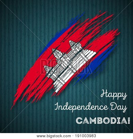 Cambodia Independence Day Patriotic Design. Expressive Brush Stroke In National Flag Colors On Dark