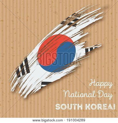 South Korea Independence Day Patriotic Design. Expressive Brush Stroke In National Flag Colors On Kr
