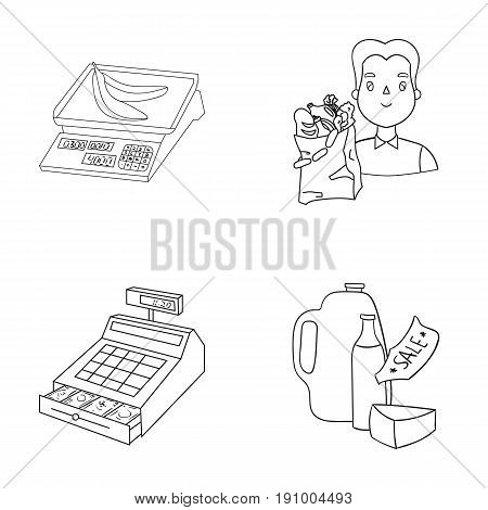 Package, scales, banana, fruit .Supermarket set collection icons in outline style vector symbol stock illustration .