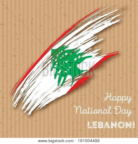 Lebanon Independence Day Patriotic Design. Expressive Brush Stroke In National Flag Colors On Kraft