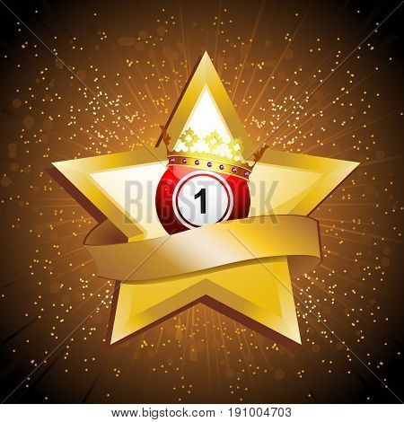 Red Bingo Lottery Ball Number 1 with Crown on Golden Star with Blank Banner Over Golden Star Burst Background