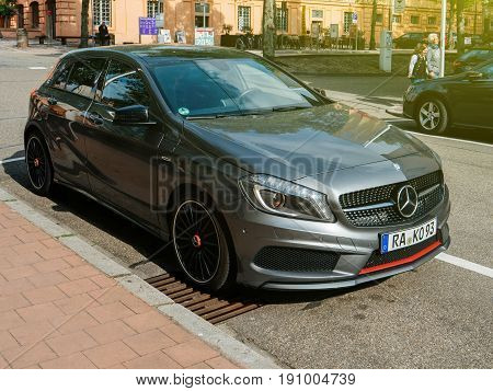 RASTATT GERMANY - APR 13 2017: The new generation of the Mercedes-Benz A-Class. Mercedes A-Class reconciles the conflicting aims of sportiness and comfort.