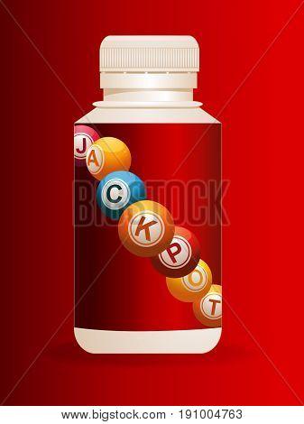 3D Illustration of Plastic Pills Bottle with Bingo Jackpot Balls Label Over Red Velvety Background