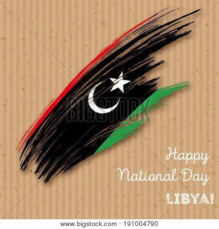 Libya Independence Day Patriotic Design. Expressive Brush Stroke In National Flag Colors On Kraft Pa