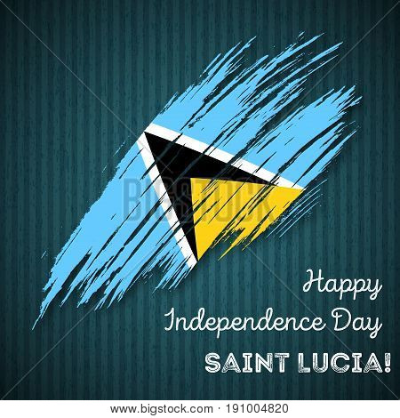 Saint Lucia Independence Day Patriotic Design. Expressive Brush Stroke In National Flag Colors On Da
