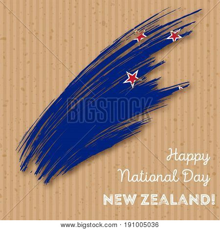 New Zealand Independence Day Patriotic Design. Expressive Brush Stroke In National Flag Colors On Kr