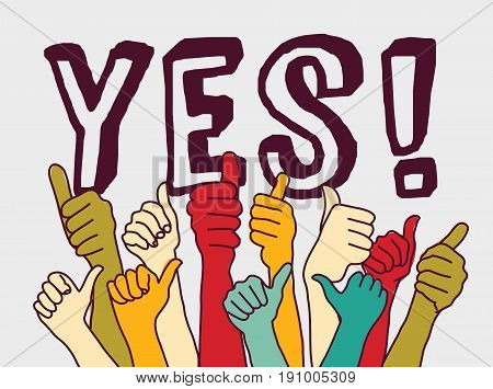 Yes consent rally hands sign and letters.. Color vector illustration. EPS8