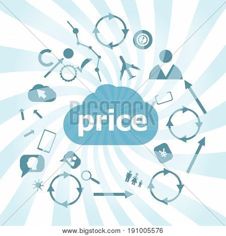 Text Price. Finance Concept . Set Of Web Icons For Business, Finance And Communication