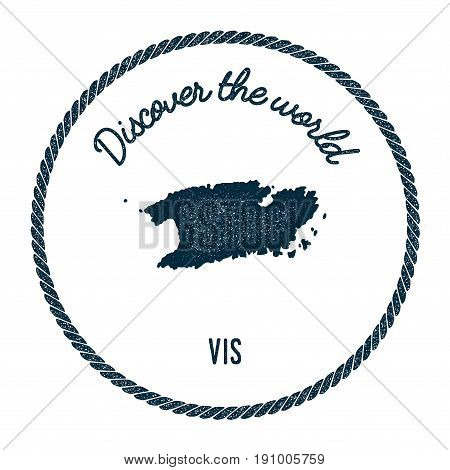 Vis Map In Vintage Discover The World Insignia. Hipster Style Nautical Postage Stamp, With Round Rop