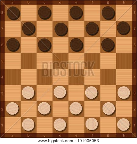 Draughts game, starting position of the twenty-four tokens, top view, wood grain style - vector illustration.