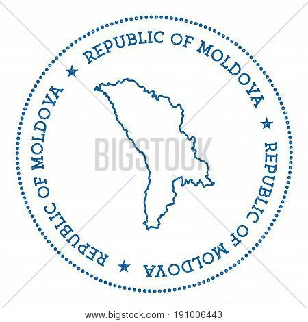 Moldova, Republic Of Vector Map Sticker. Hipster And Retro Style Badge With Moldova, Republic Of Map