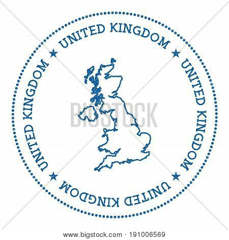 United Kingdom Vector Map Sticker. Hipster And Retro Style Badge With United Kingdom Map. Minimalist