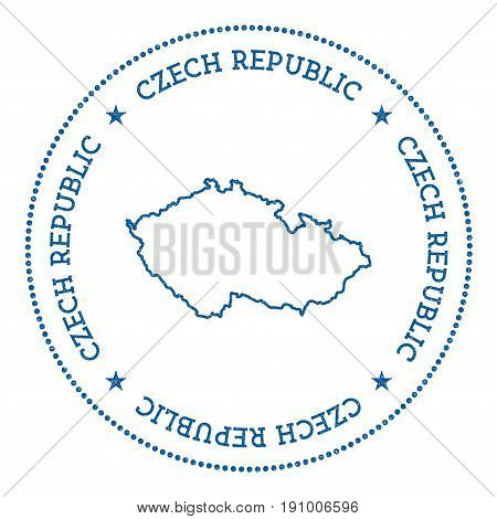 Czech Republic Vector Map Sticker. Hipster And Retro Style Badge With Czech Republic Map. Minimalist