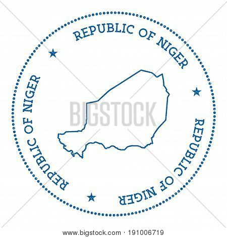 Niger Vector Map Sticker. Hipster And Retro Style Badge With Niger Map. Minimalistic Insignia With R