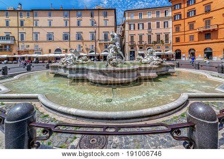 ROME ITALY - JUNE 1 2017: Piazza Navona Neptune Fountain in Rome Italy