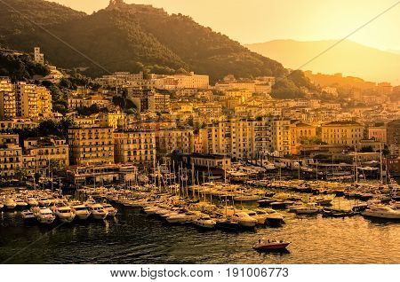 Village and port of Salerno in the morning light