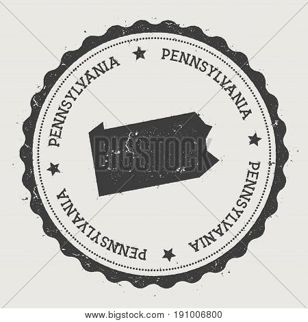 Pennsylvania Vector Sticker. Hipster Round Rubber Stamp With Us State Map. Vintage Passport Stamp Wi