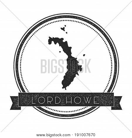 Lord Howe Island Map Stamp. Retro Distressed Insignia. Hipster Round Badge With Text Banner. Island