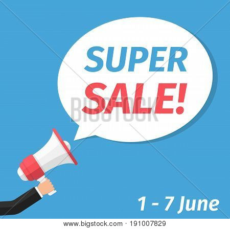 Super sale announcement hand holding megaphone and specch bubble announcing big sale vector eps10 illustration